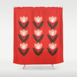 Tulip Field in Red Shower Curtain