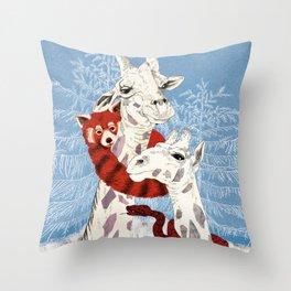 Winter Giraffes  Throw Pillow