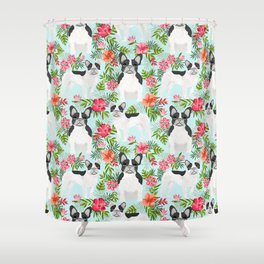 French Bulldog hawaiian print dog breed custom art by pet friendly frenchies Shower Curtain