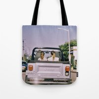 jeep Tote Bags featuring Jeep by Warren Silveira + Stay Rustic