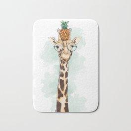 Intelectual Giraffe with a pineapple on head Bath Mat