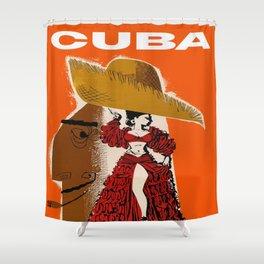 Vintage Travel Ad Cuba Shower Curtain