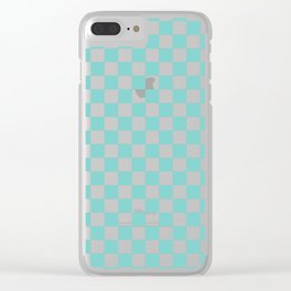 Aqua Checkerboard Pattern Clear iPhone Case