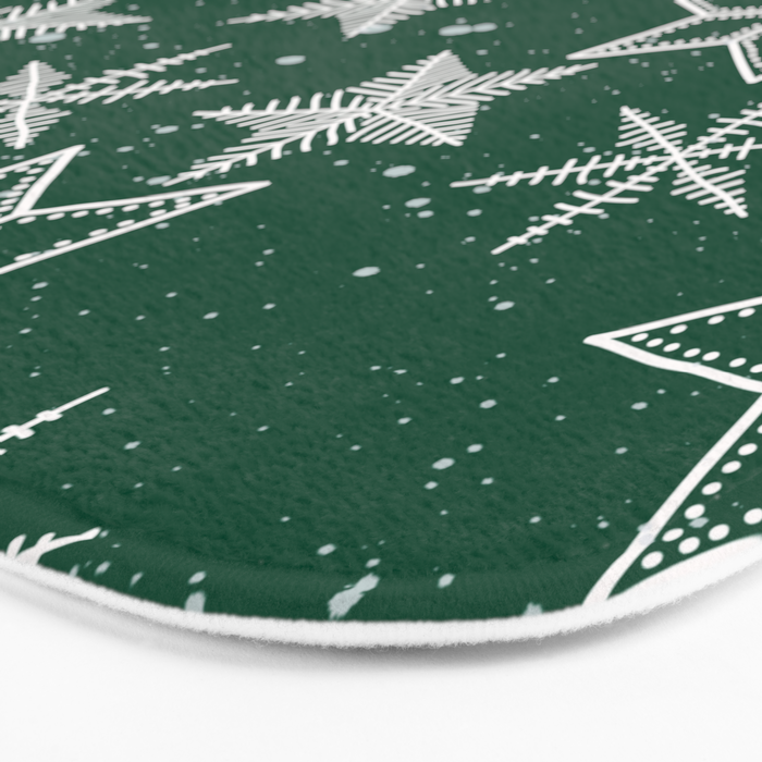 Snowflakes On Green Background Bath Mat
