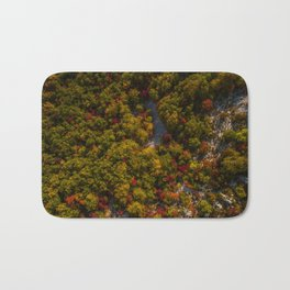 Aerial drone view of amazing autumn colors in fall forest. Bath Mat
