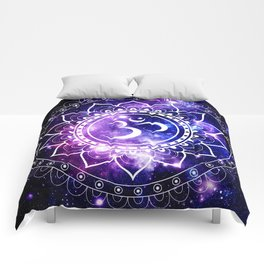 om mandala: purple blue space Comforters