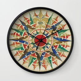 Vintage Compass Rose Diagram (1502) Wall Clock