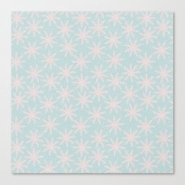 Merry christmas - Knit pink snowflakes and snow on aqua background Canvas Print