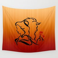 beauty and the beast Wall Tapestries featuring Beauty and The Beast by Raisya
