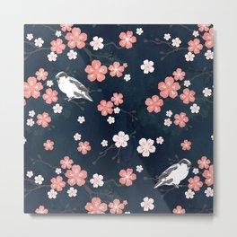Navy blue cherry blossom finch Metal Print
