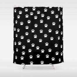 Cat's hand drawn paws in black and white Shower Curtain