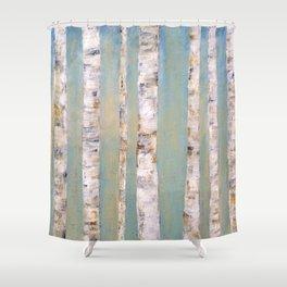 Blue Birch Trees Shower Curtain