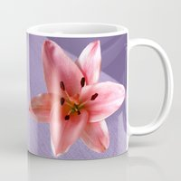 lily Mugs featuring lily by flora cyclam