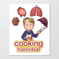 cooking Canvas Prints featuring Cooking Hannibal by Sabrina Cotugno
