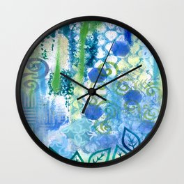 In amongst the blues and greens Wall Clock