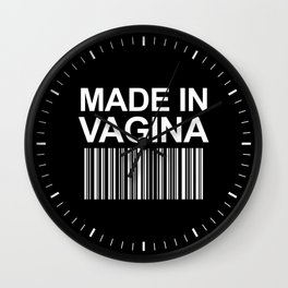 MADE IN VAGINA BABY FUNNY BARCODE (Black & White) Wall Clock