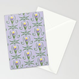 Iris Flowers Illustrated Pattern Purple Green Yellow Summer Garden Stationery Cards