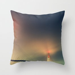 Bridge in Fog 2 Throw Pillow