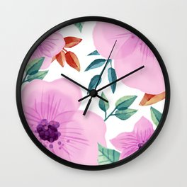 FLOWERS WATERCOLOR XXV Wall Clock