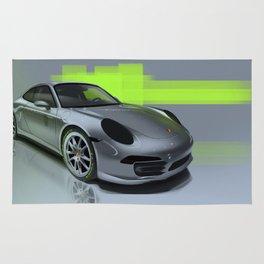 Porsche 911 Digital Painting   Automotive   Car Rug