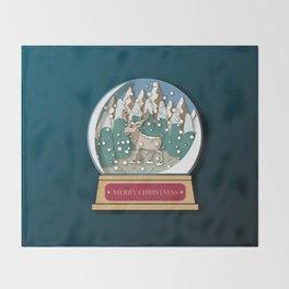 Merry Christmas Snowglobe Reindeer Throw Blanket