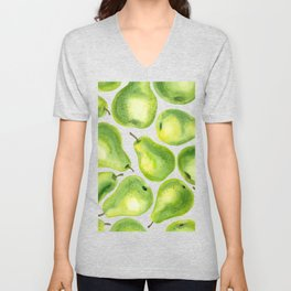 Green pears watercolor pattern Unisex V-Neck