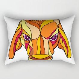 Brahma Bull Head Mosaic Color Rectangular Pillow