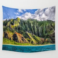 spires Wall Tapestries featuring Na' Pali Spires, Kauai, Hawaii  by Elliott's Location Photography