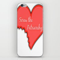 patriarchy iPhone & iPod Skins featuring Screw The Patriarchy by Paris Noonan
