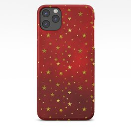 Golden Stars on Royal Red iPhone Case