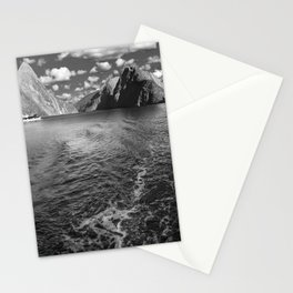 A boat ride in the morning at Milford Sound in black and white Stationery Cards