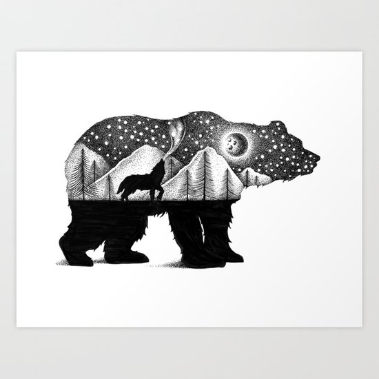 The Bear And The Wolf Art Print By Thiago Bianchini Society6