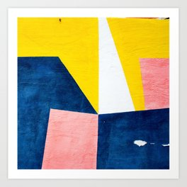 Orange and blue abstract minimalist painting Art Print