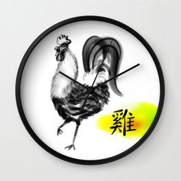 Chinese Ink Rooster Wall Clock