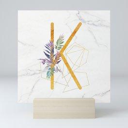 Modern glamorous personalized gold initial letter K, Custom initial name monogram gold alphabet prin Mini Art Print