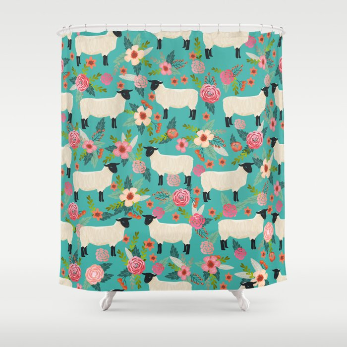 Suffolk Sheep farm floral cute animals sheep lover nature florals pattern homestead gifts Shower Curtain