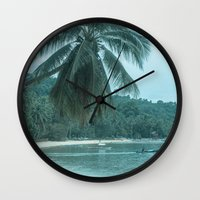 clint barton Wall Clocks featuring Port Barton by Sandy Broenimann