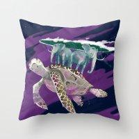 discworld Throw Pillows featuring Terry Pratchett  by Lesley Vamos
