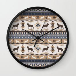Boho dogs | German shepherd pattern tan Wall Clock