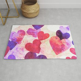 Fab Pink & Purple Grungy Hearts Design Rug