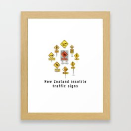 New Zealand insolite traffic signs Framed Art Print