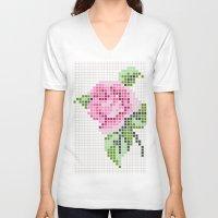 shabby chic V-neck T-shirts featuring Shabby Chic Pink Rose by Alisa Galitsyna