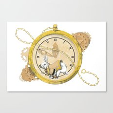 White Rabbit in the Race to the Scoop Canvas Print