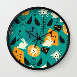 Mid-century pattern with bunnies Wall Clock