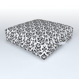Feuille Damask Pattern Black on White Outdoor Floor Cushion