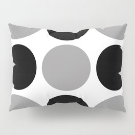 Mid Century Modern Polka Dot Pattern 9 Black and Gray Pillow Sham