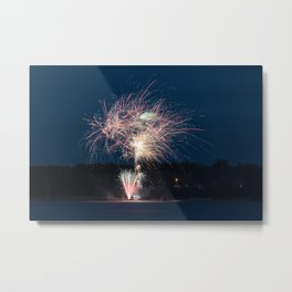 Fireworks Over Lake 6 Metal Print