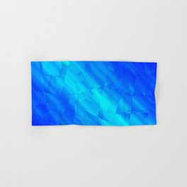 Glowing metallic blue fragments of yellow crystals on irregularly shaped triangles. Hand & Bath Towel