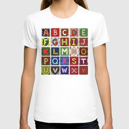 Alphabet fun letters without the letter Z T-shirt