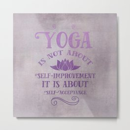 Yoga Philosophy Typography Art Metal Print